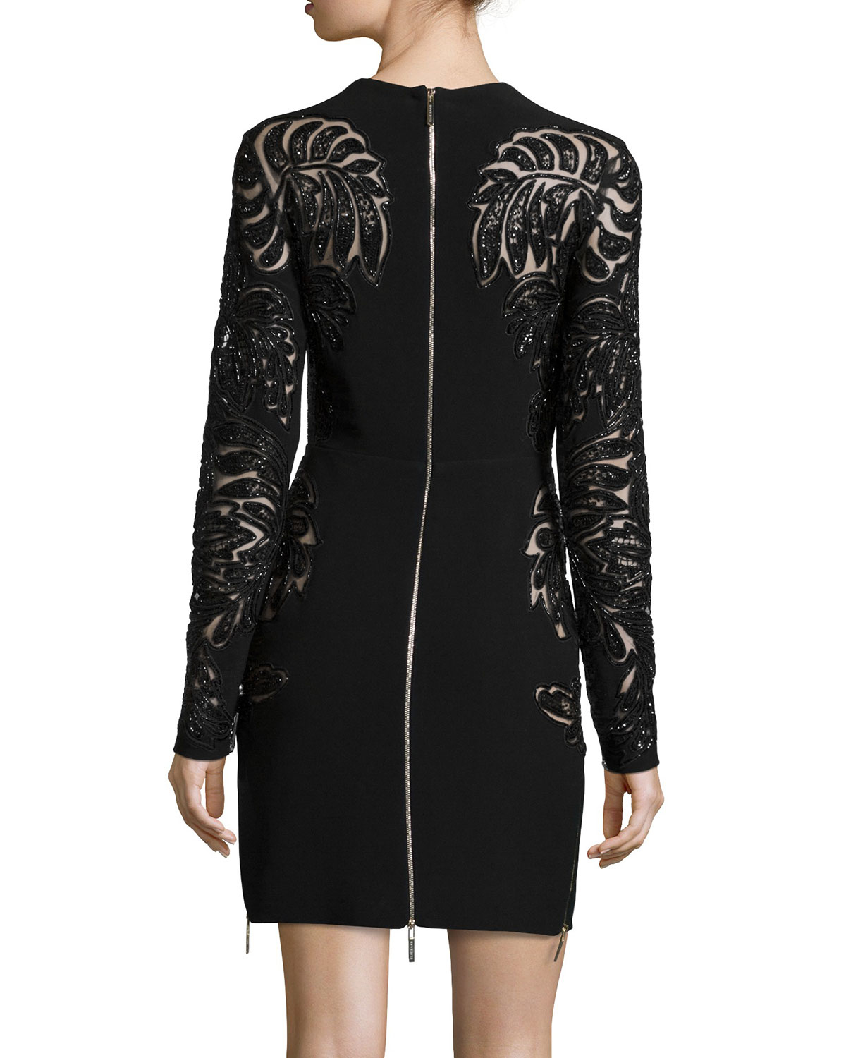 288e888b90 Elie Saab Long-sleeve Lace Cutout Cocktail Dress in Black - Lyst