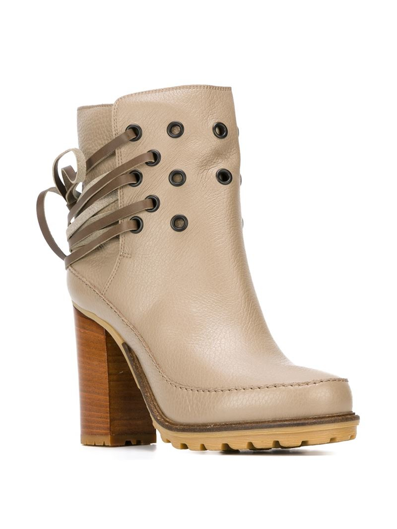 MM6 by Maison Martin Margiela Leather Eyelet And Tie Detail Boots in Natural