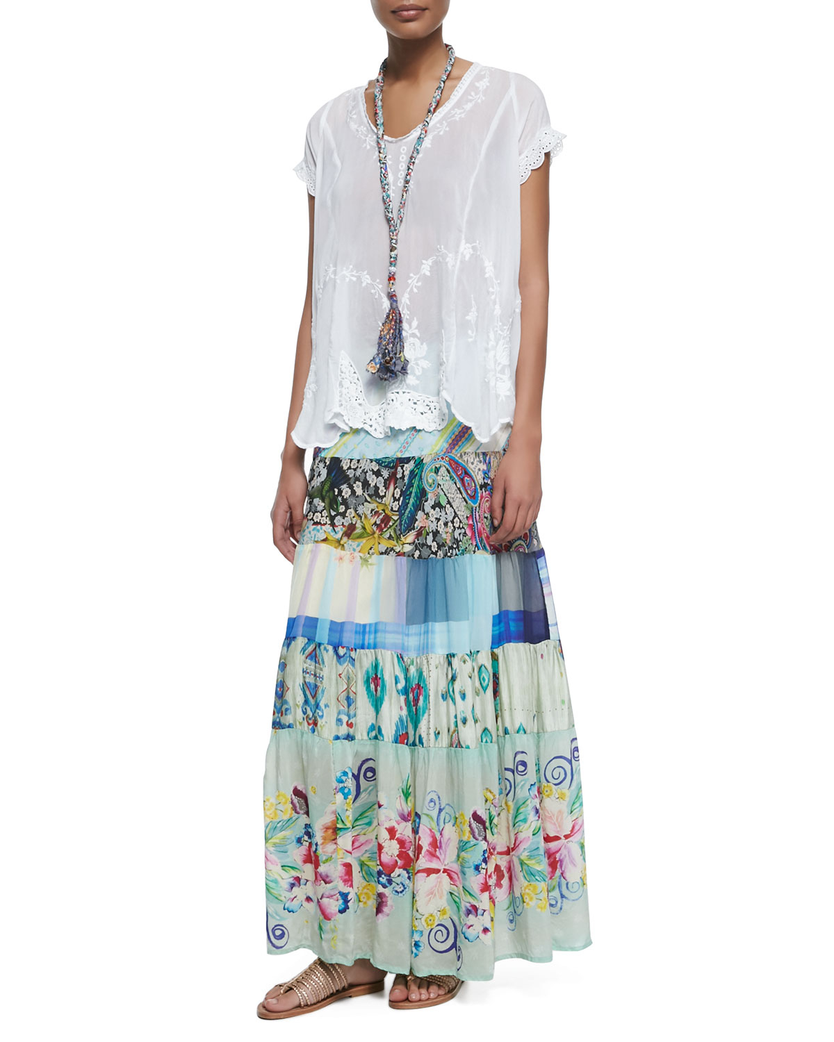 Lyst Johnny Was Floral Print Tiered Silk Skirt In Blue