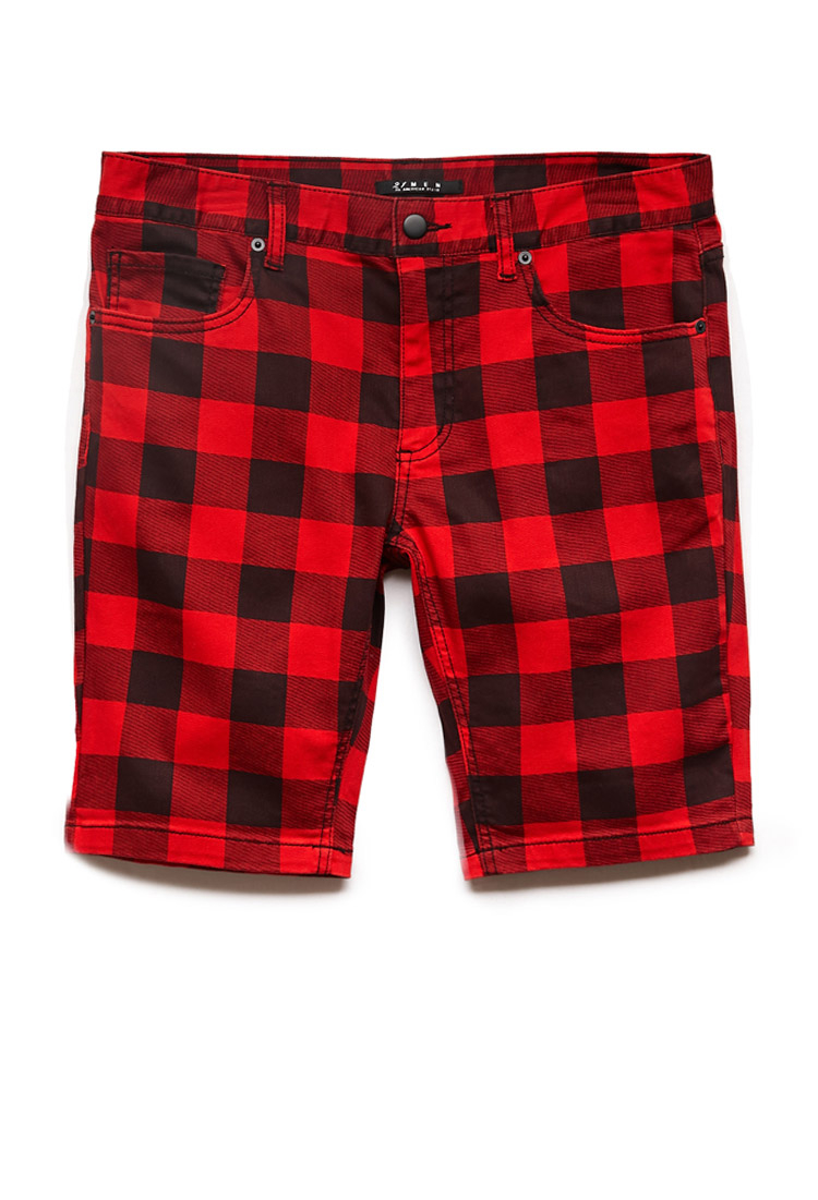 Lyst Forever 21 Buffalo Plaid Denim Shorts In Red For Men