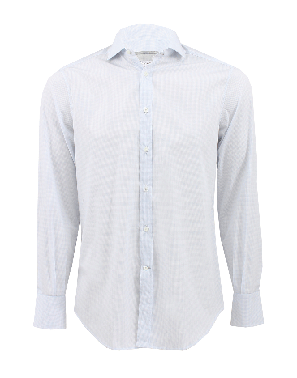 Brunello cucinelli windowpane spread collar shirt in white for What is a spread collar shirt