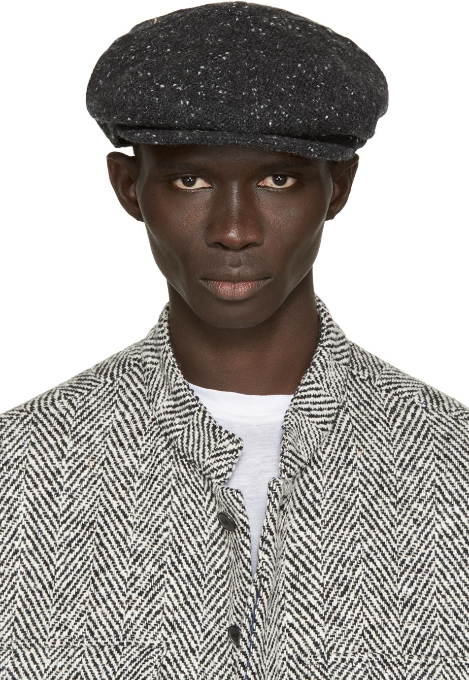 Lyst Pigalle Black Rustic Lugano Flat Cap In Gray For Men