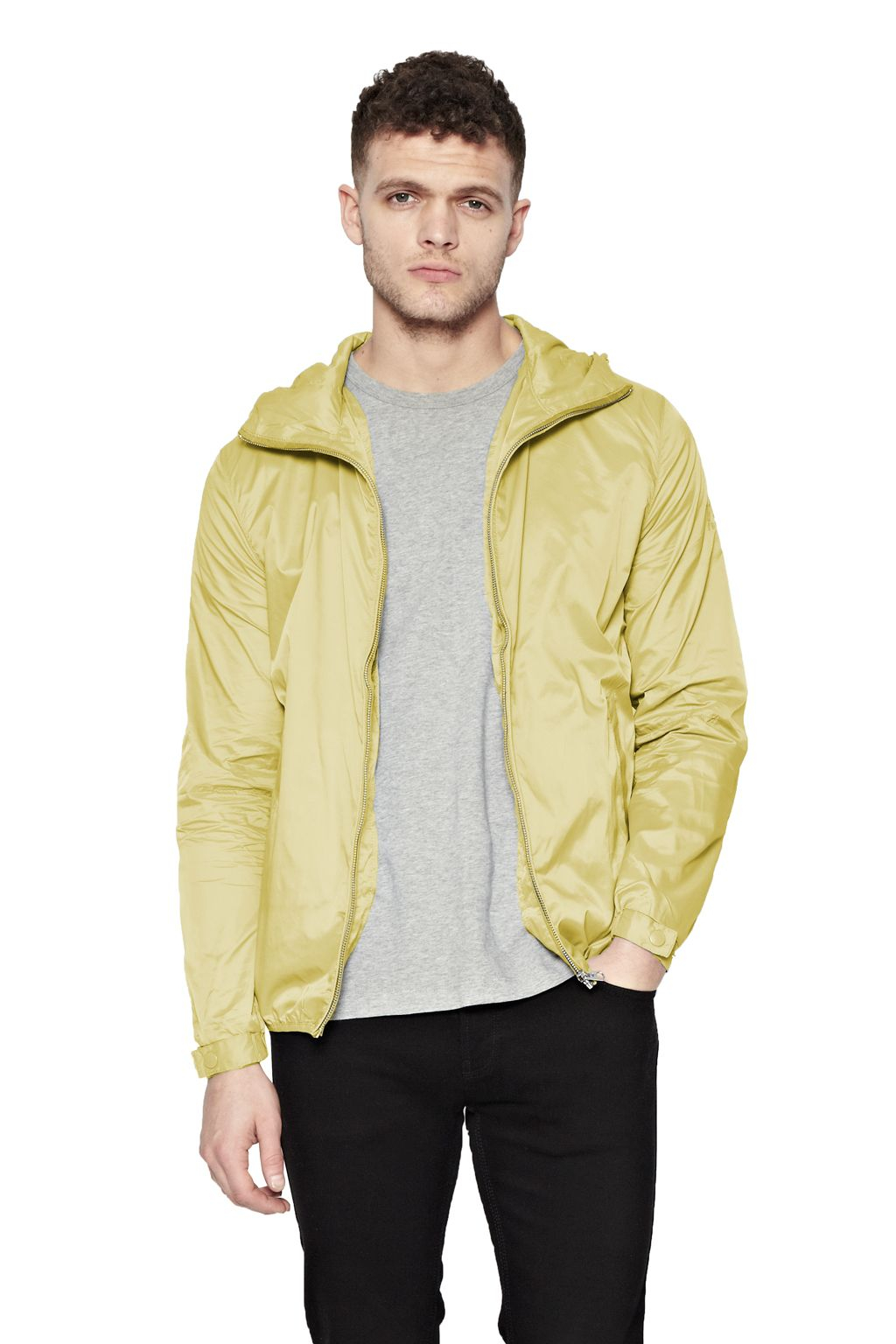 French Connection Synthetic Aura Casual Full Zip Bomber Jacket in Yellow for Men