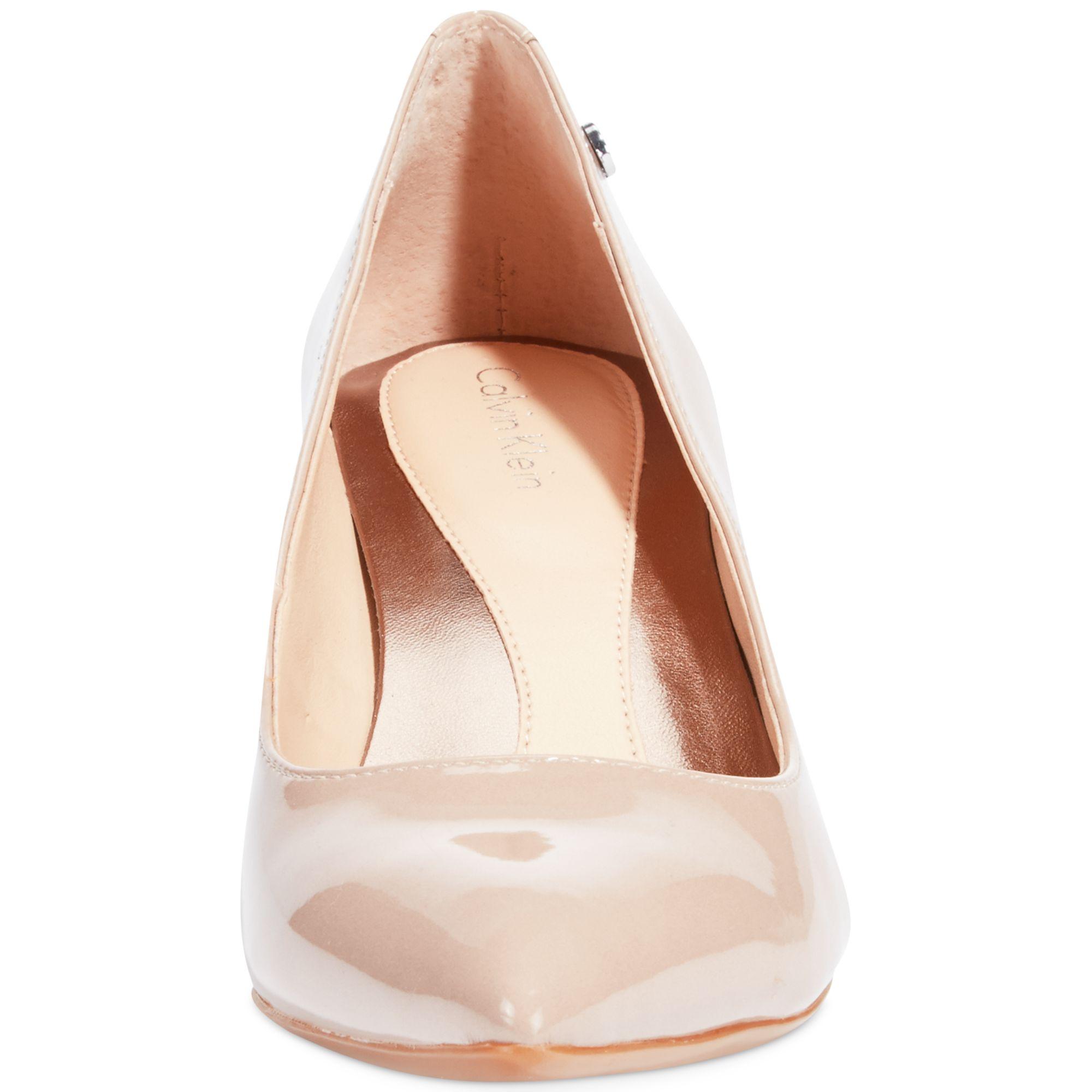 Lyst Calvin Klein Nicki Kitten Heel Pumps In Natural