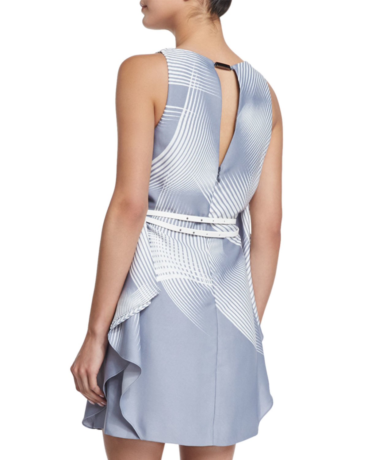 printed dress with belt in blue lyst