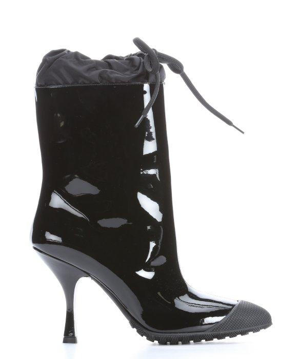 Miu Miu Black Patent Leather Rubber Cap Toe Rain Boots In