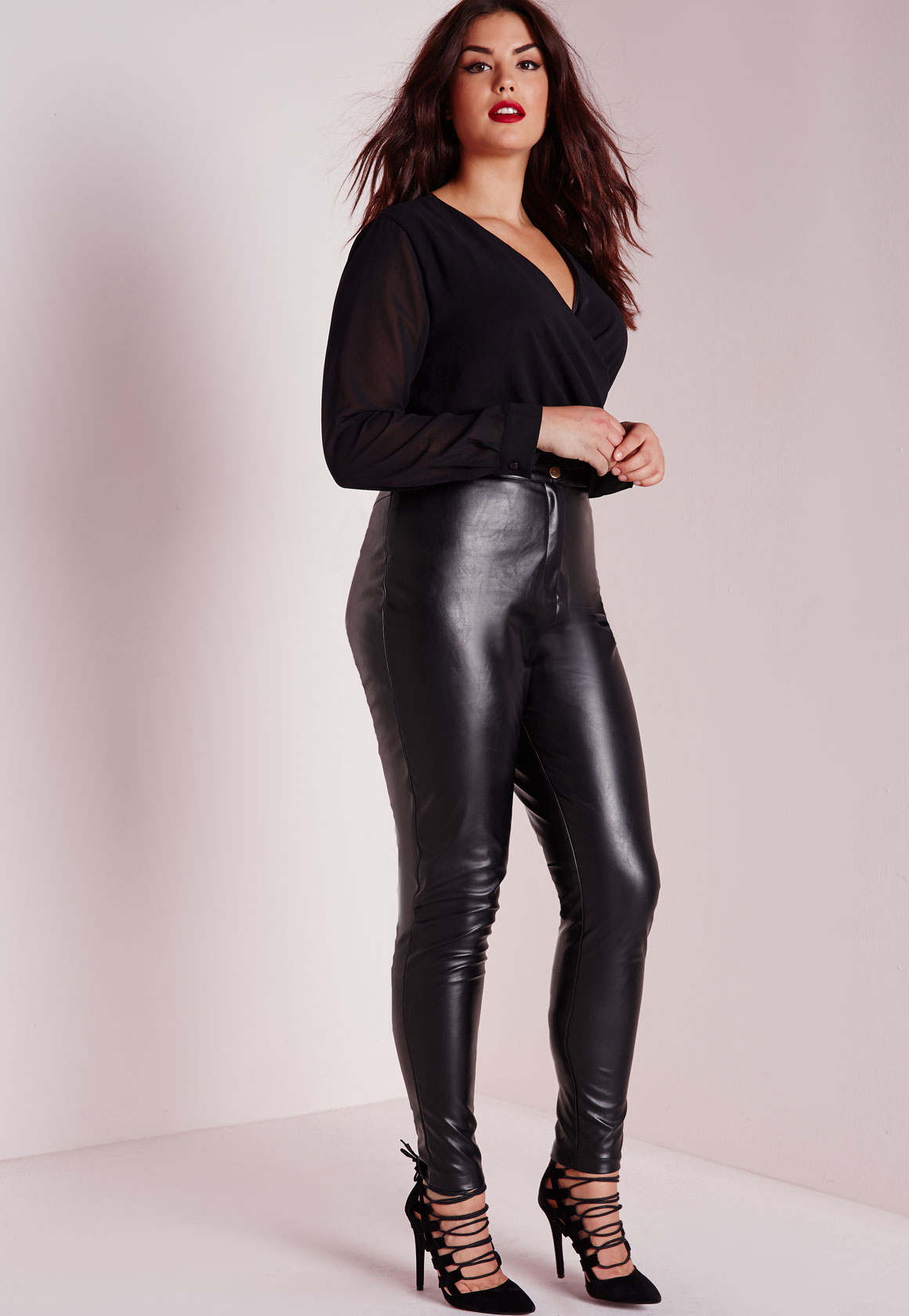 sale online purchase genuine beautiful style Missguided Plus Size Faux Leather Trousers Black