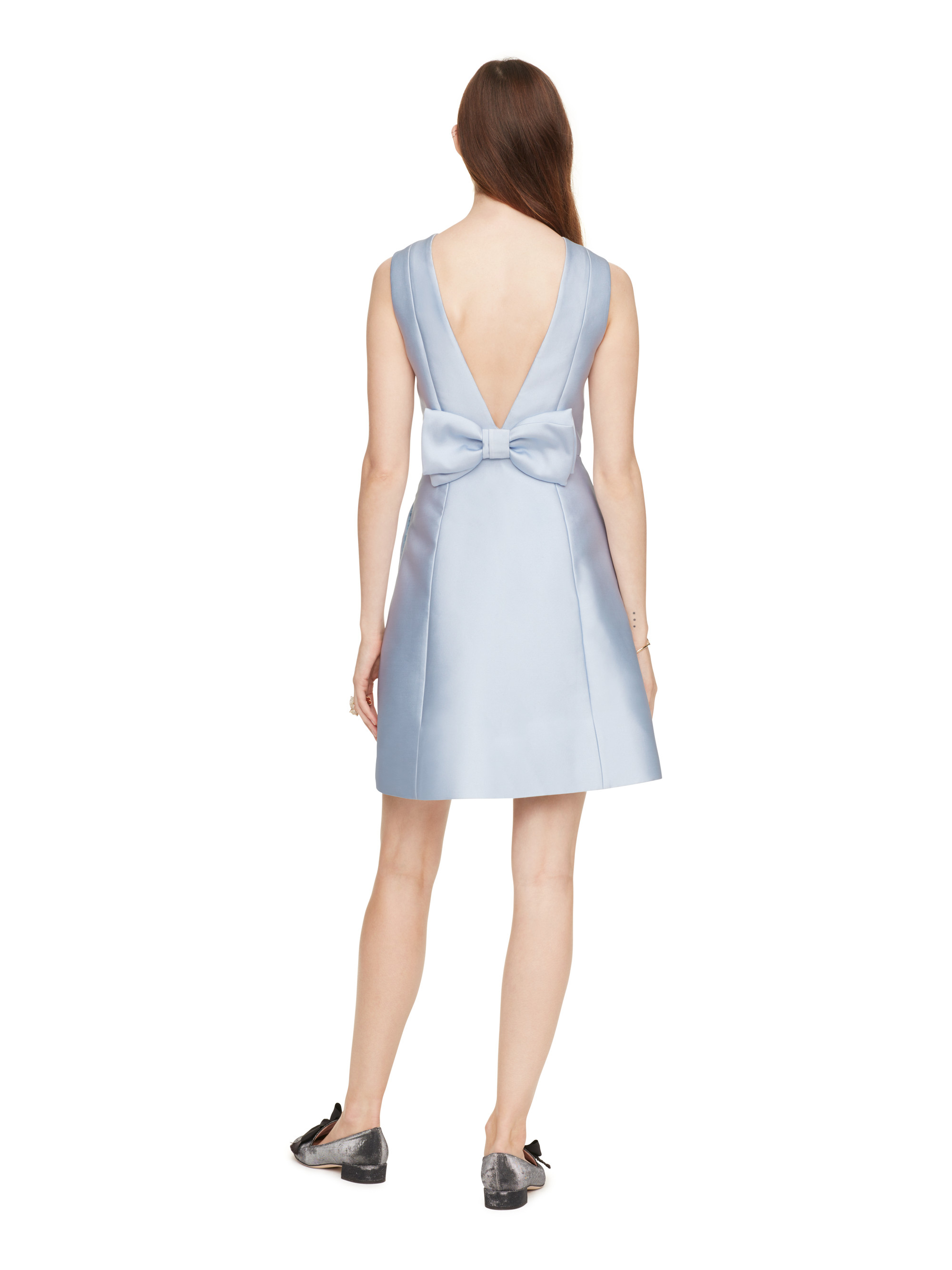 Kate Spade Synthetic Open Back Bow Dress In Blue Lyst