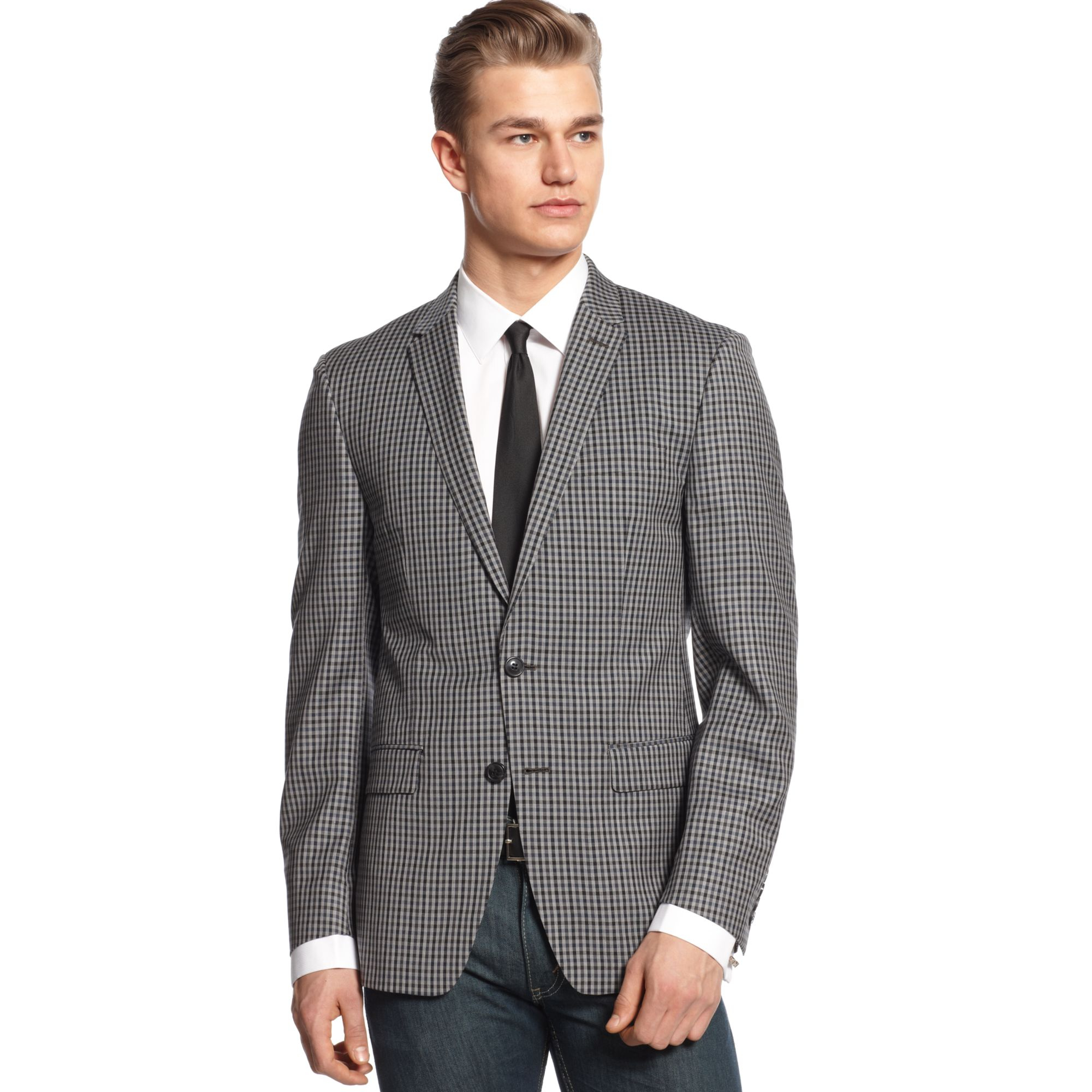Lyst Dkny Sport Coat Light Grey With Black And Navy