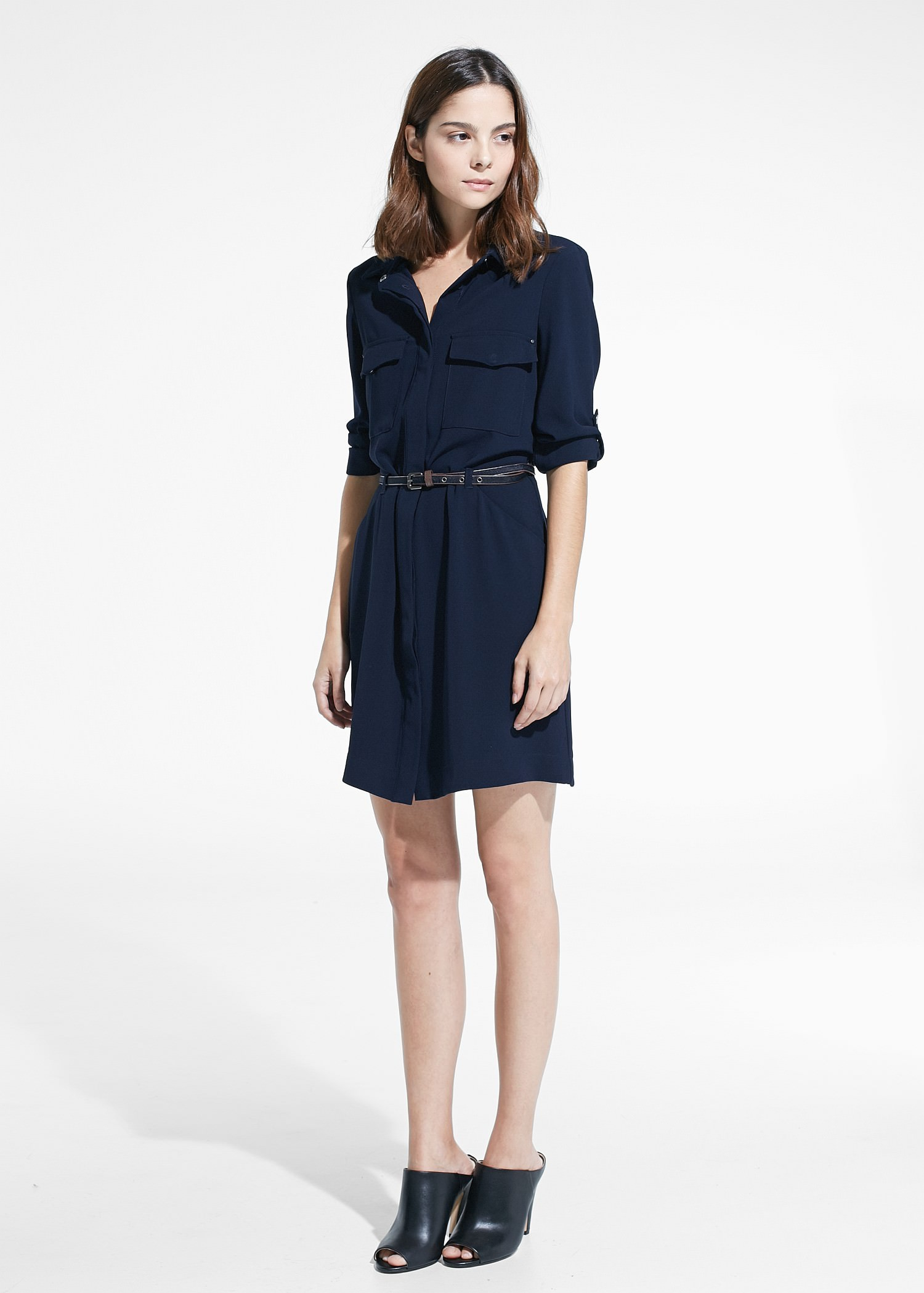 mango belt shirt dress in blue lyst