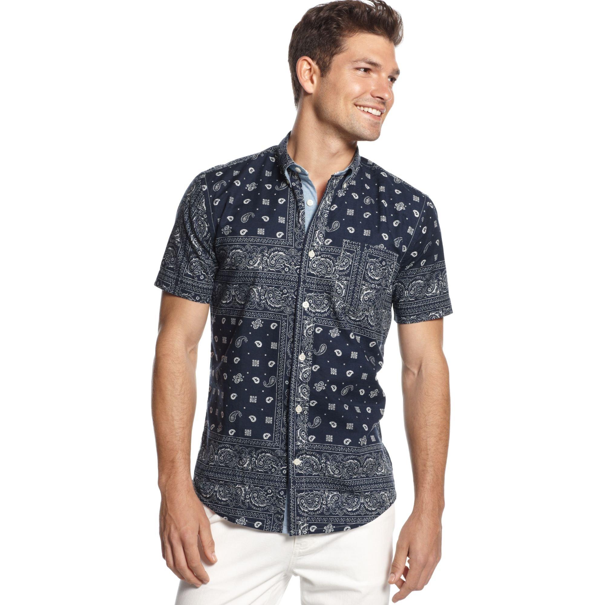 52714a72 Tommy Hilfiger Dean Pieced Bandana Customfit Shirt in Blue for Men ...