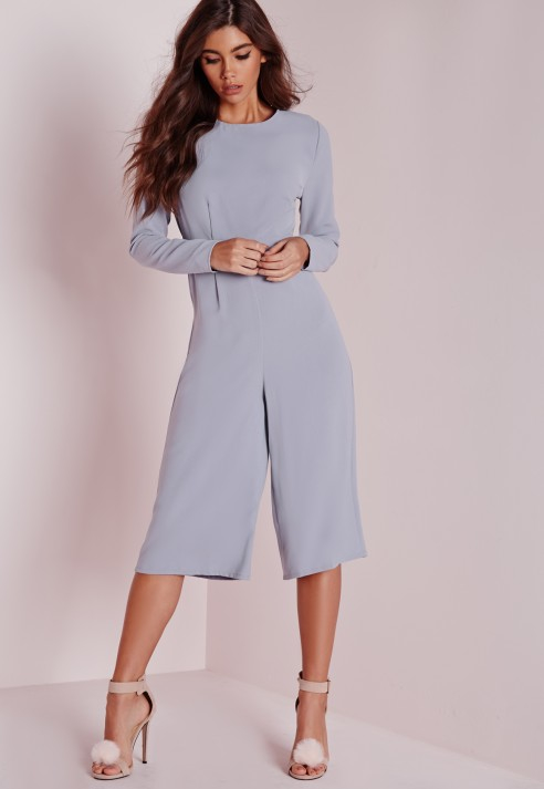 2f5a53000405 Lyst - Missguided Open Back Long Sleeve Culotte Jumpsuit Grey in Gray