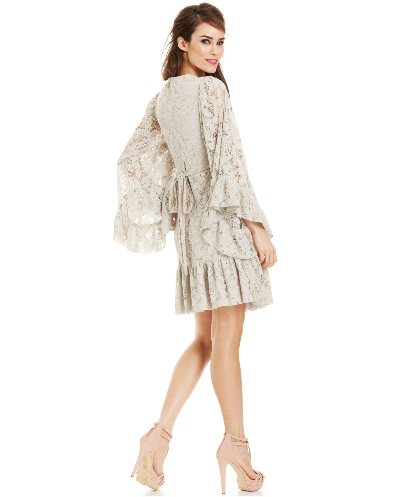 Bell Sleeve Ruffled Lace Dress