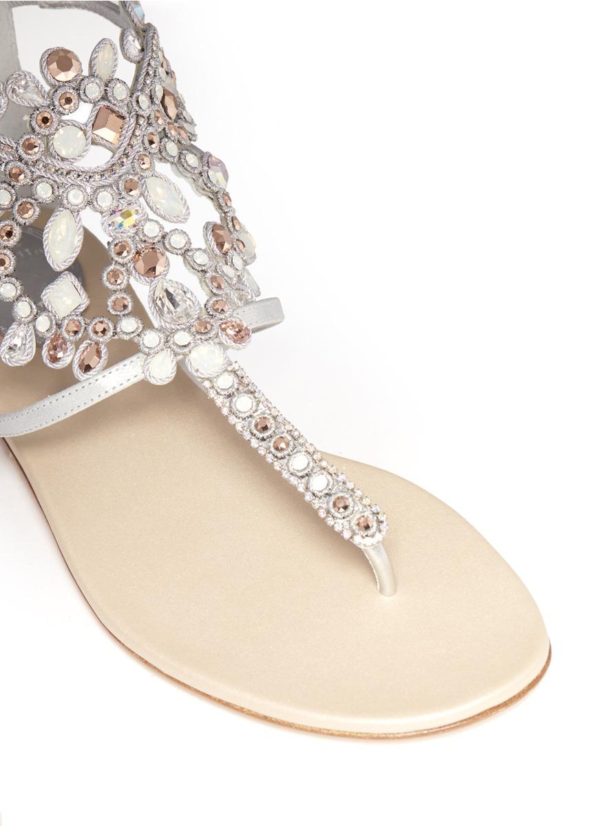 d13e2d554 Lyst - Rene Caovilla Crystal Embellished Flat Sandals in Metallic
