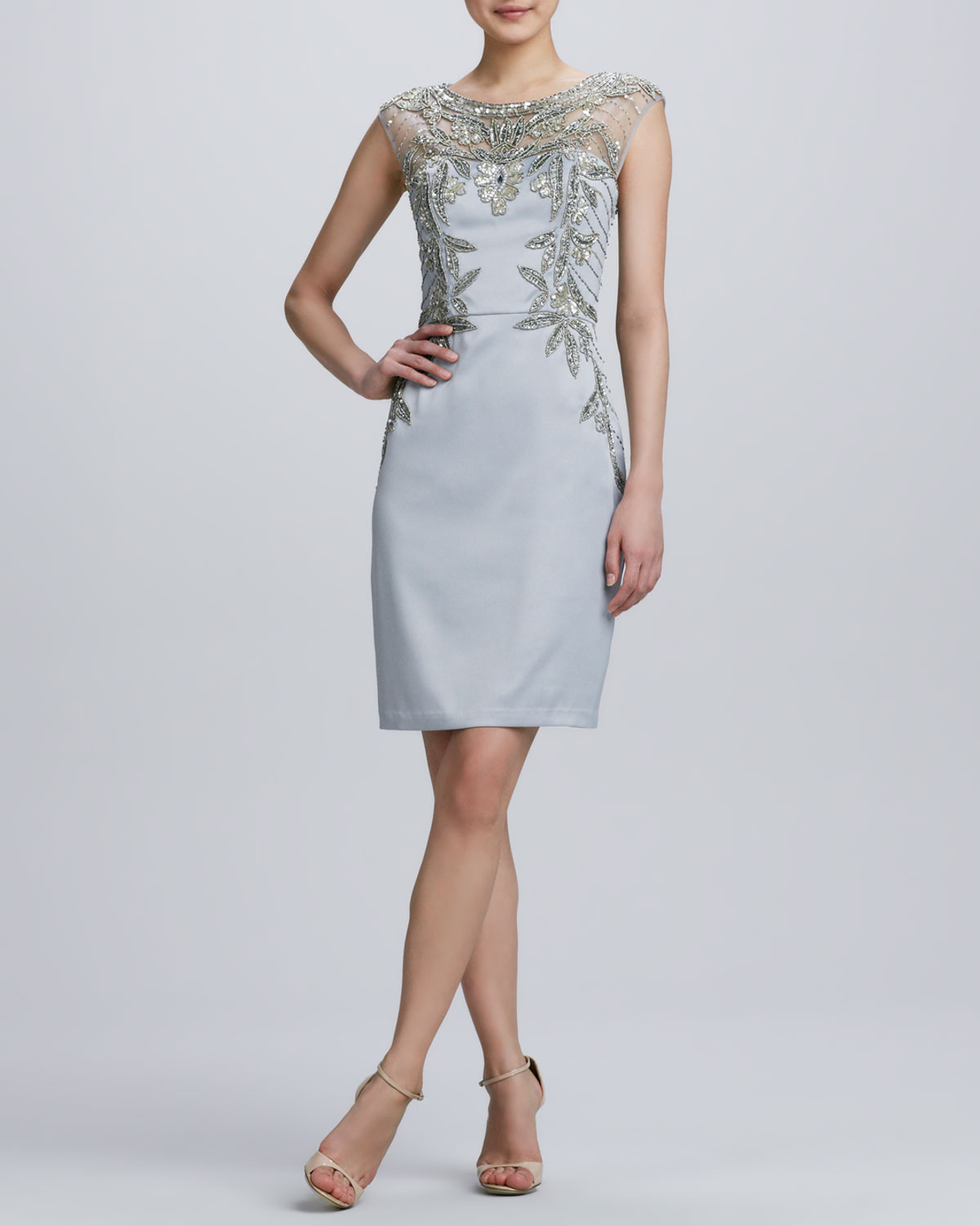 Lyst Sue Wong Beaded Embroidered Cocktail Dress In Metallic