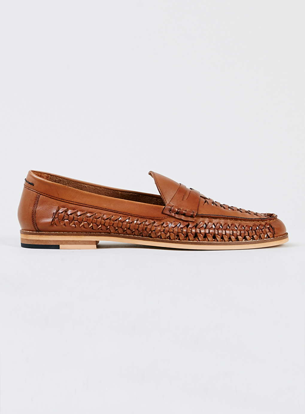 Topman Marne Tan Leather Woven Loafers In Brown For Men Lyst