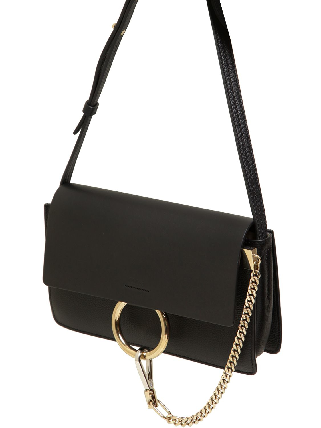 Lyst - Chloé Small Faye Grained   Smooth Leather Bag in Black 879974cc4586a