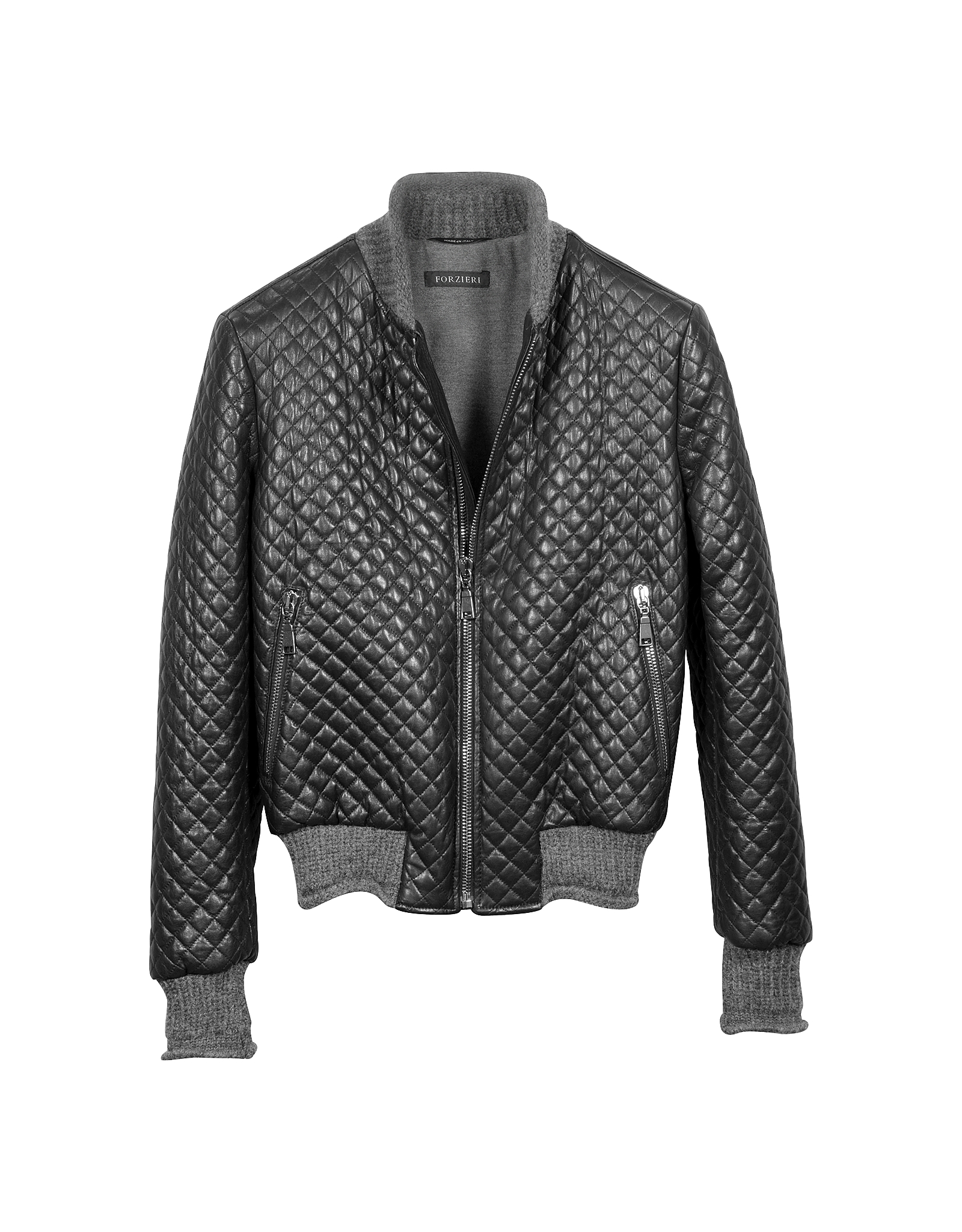 Lyst forzieri men 39 s black quilted leather bomber jacket for Quilted jackets for men