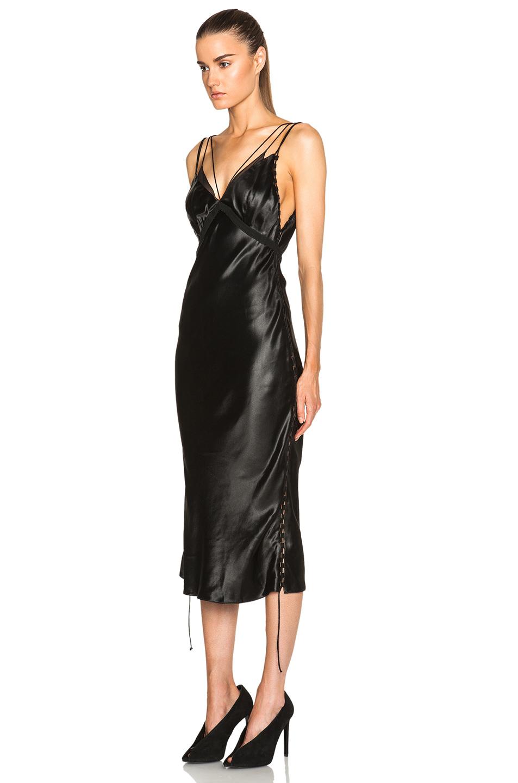 3114096a3f7ef Alexander Wang Bias Cut Slip Dress With Side Seam Detail in Black - Lyst