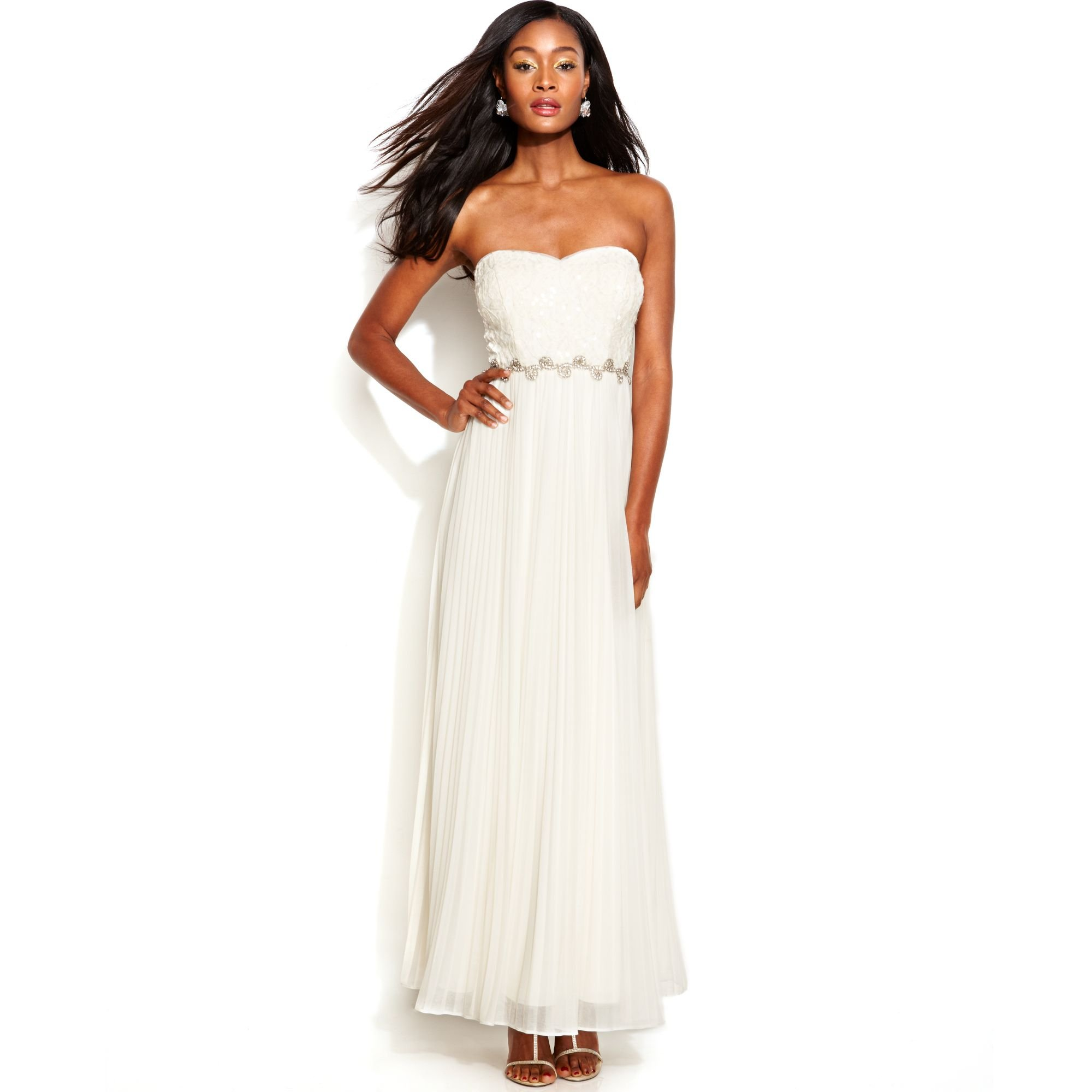 Lyst Betsy Amp Adam Strapless Sequin Lace Pleated Gown In