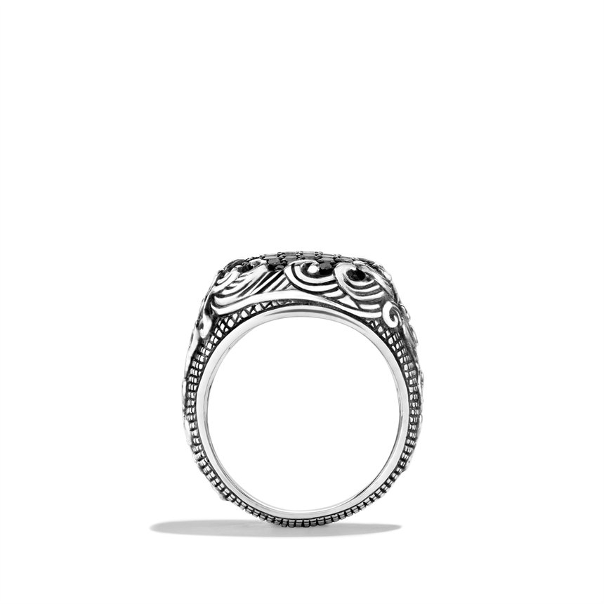 David Yurman Waves Signet Ring With Black Diamonds In
