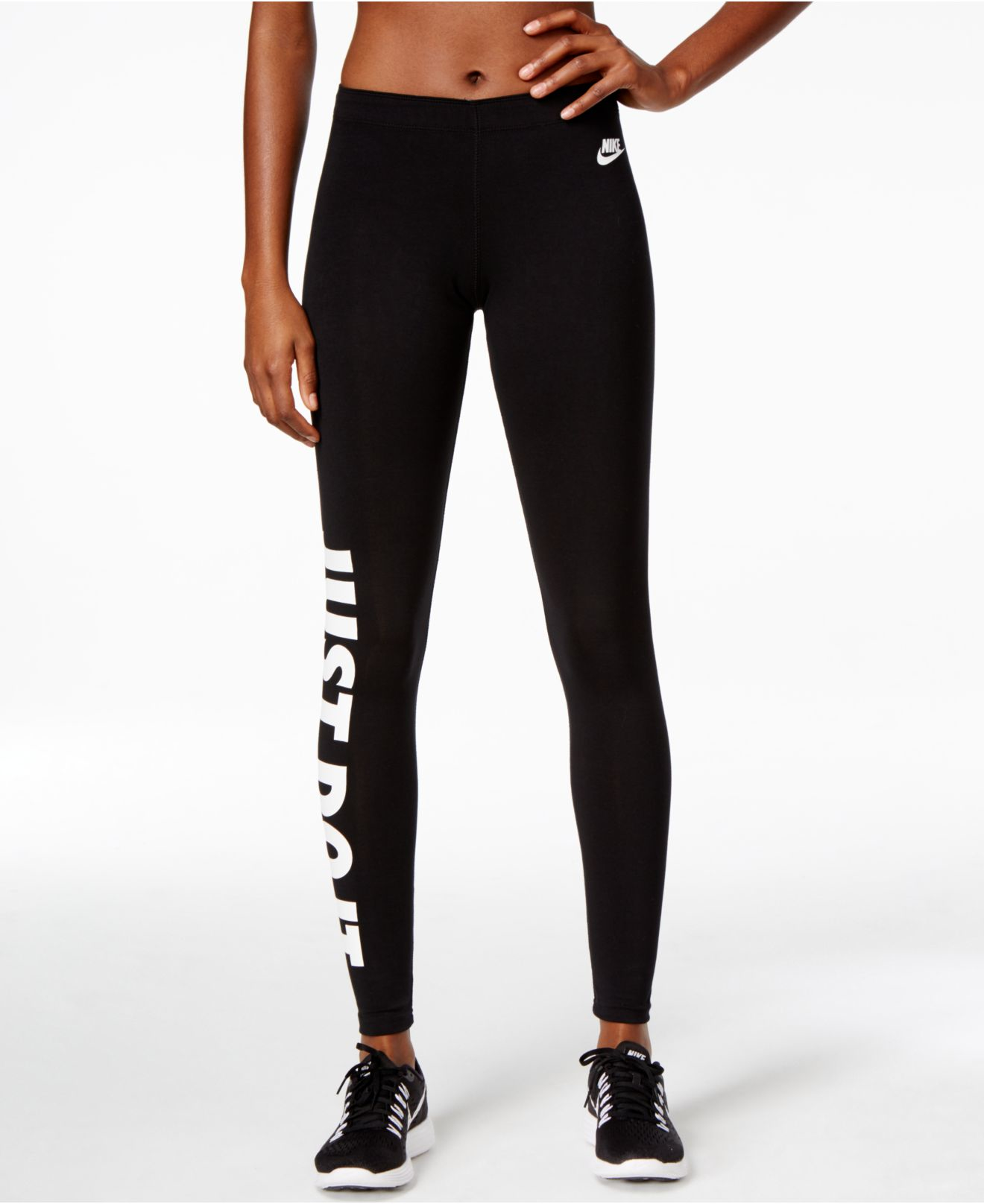 nike just do it dri fit leggings in black lyst. Black Bedroom Furniture Sets. Home Design Ideas