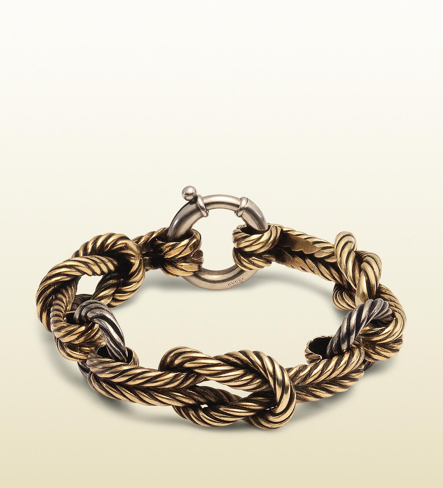 98ef8ea4f68b1 Gucci Metallic Gold Finished Sterling Silver Knot Bracelet for men