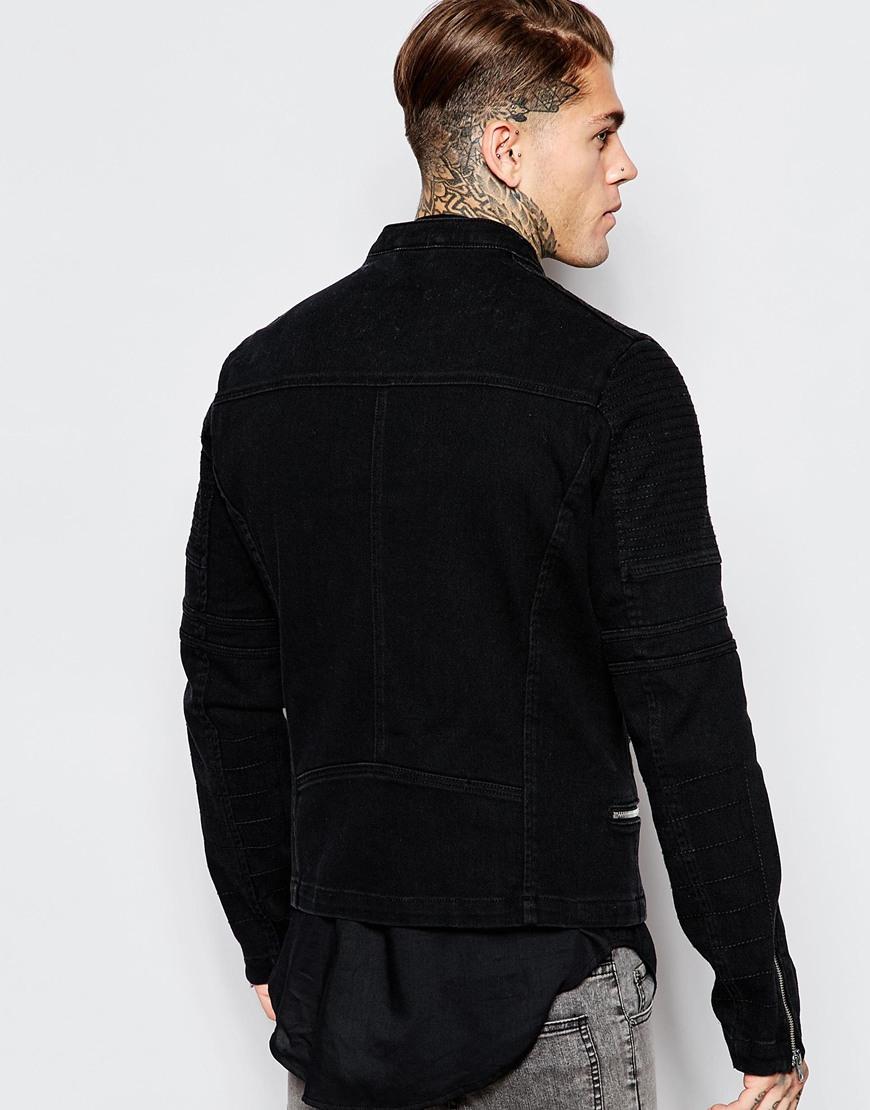 ASOS Denim Biker Jacket In Black Wash for Men