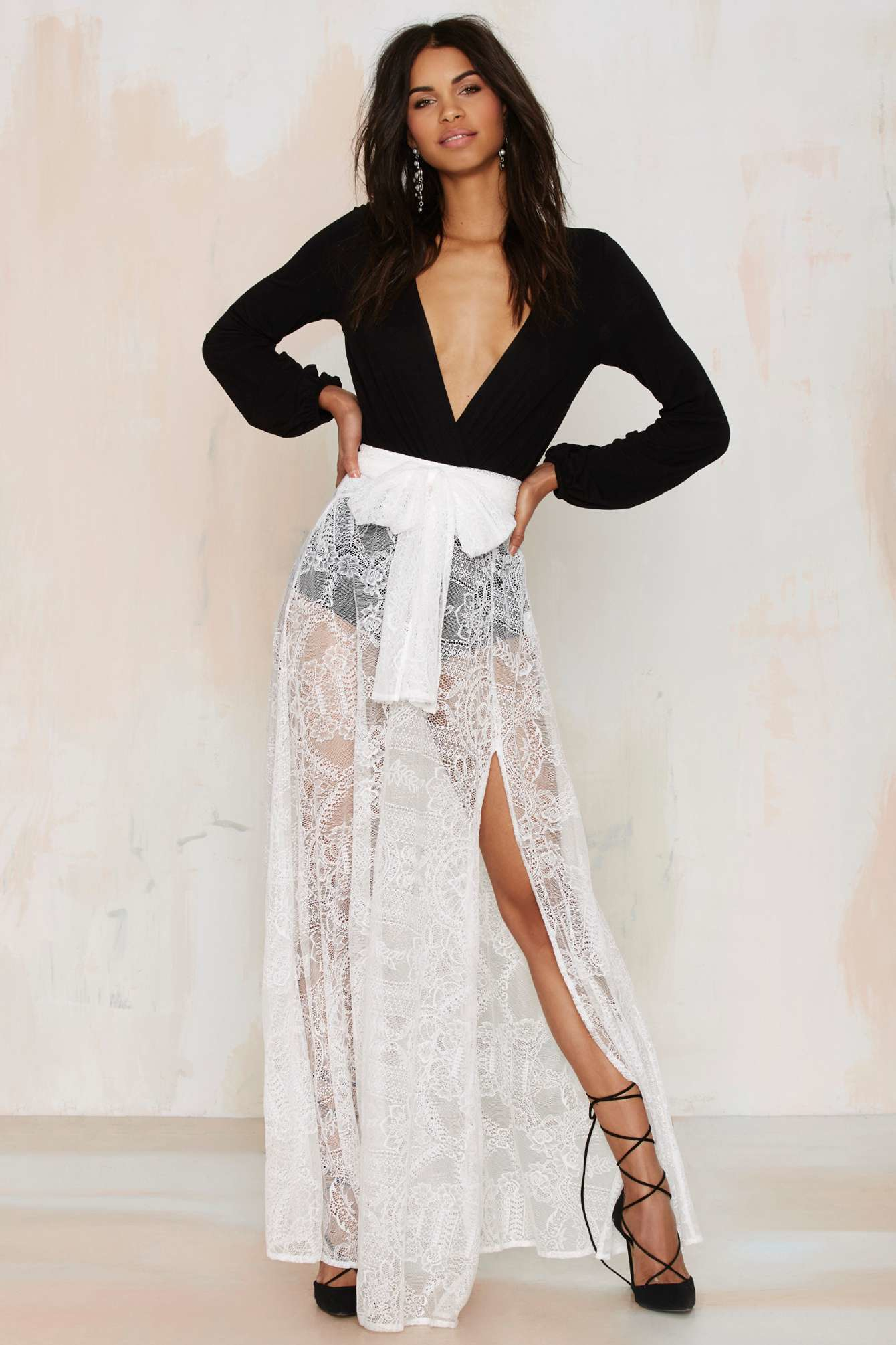 save up to 80% marketable better Nasty Gal Just In Lace Maxi Skirt - White
