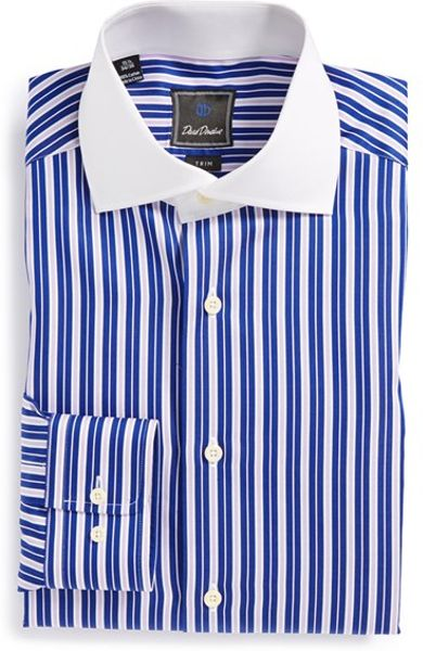 David Donahue Trim Fit Stripe Dress Shirt In Blue For Men