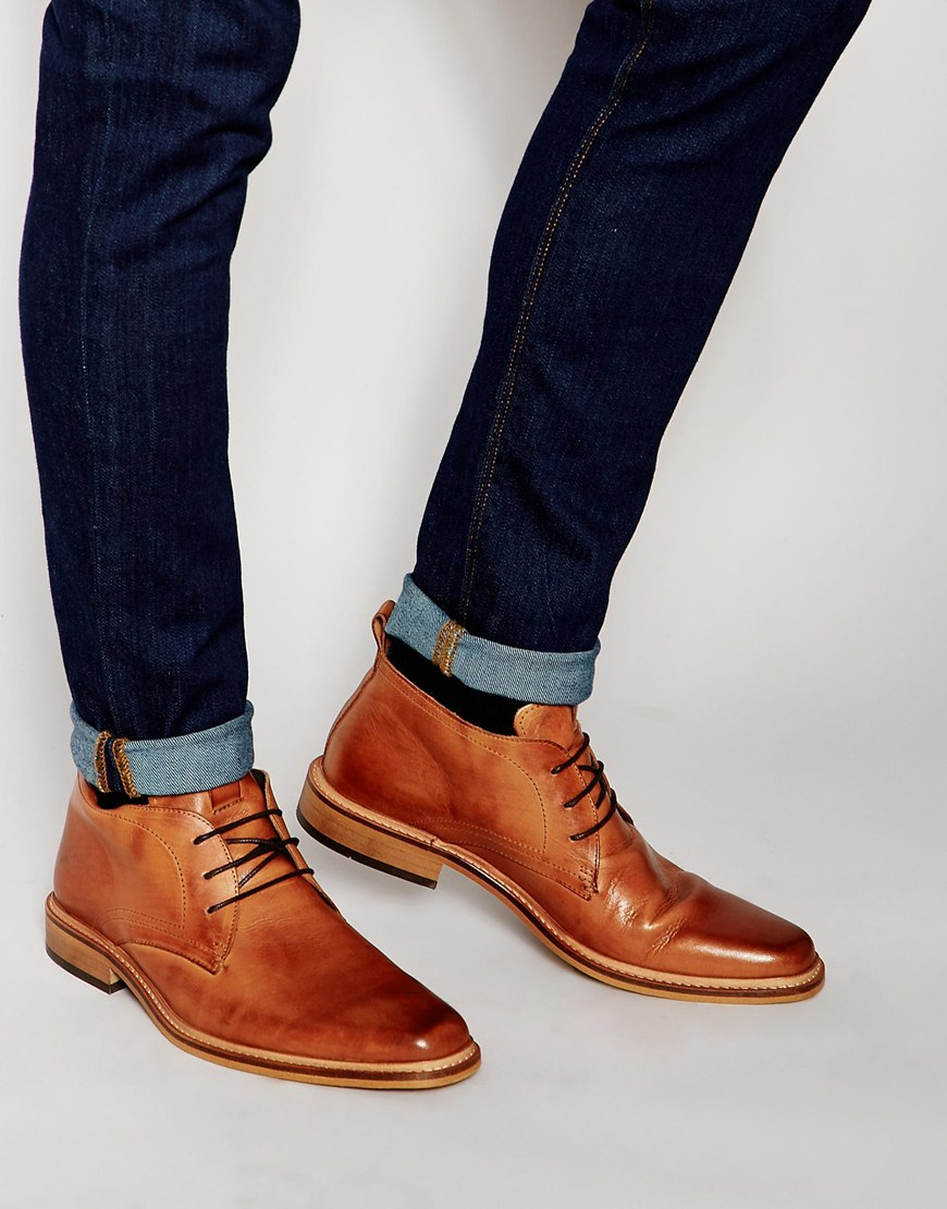 e50068b82d5 Dune Brown Leather Montenegro Chukka Boots for men