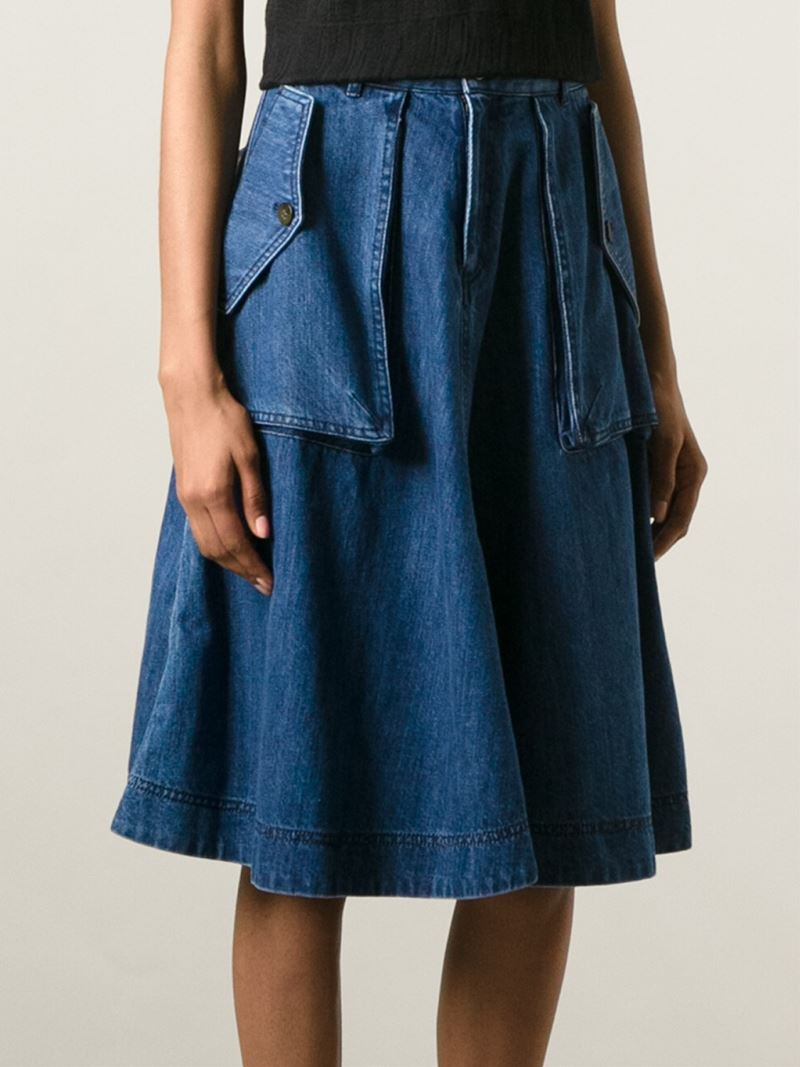 Marc By Marc Jacobs Flared Denim Skirt In Blue Lyst