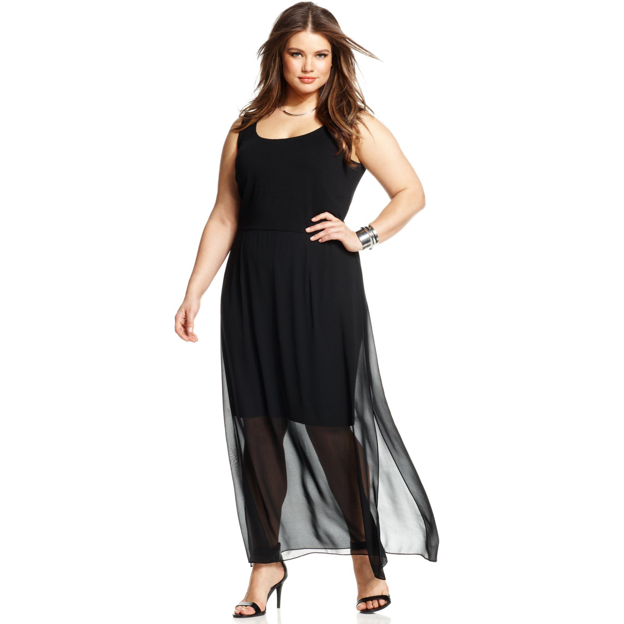 Plus Size Sleeveless Chiffon Maxi Dress