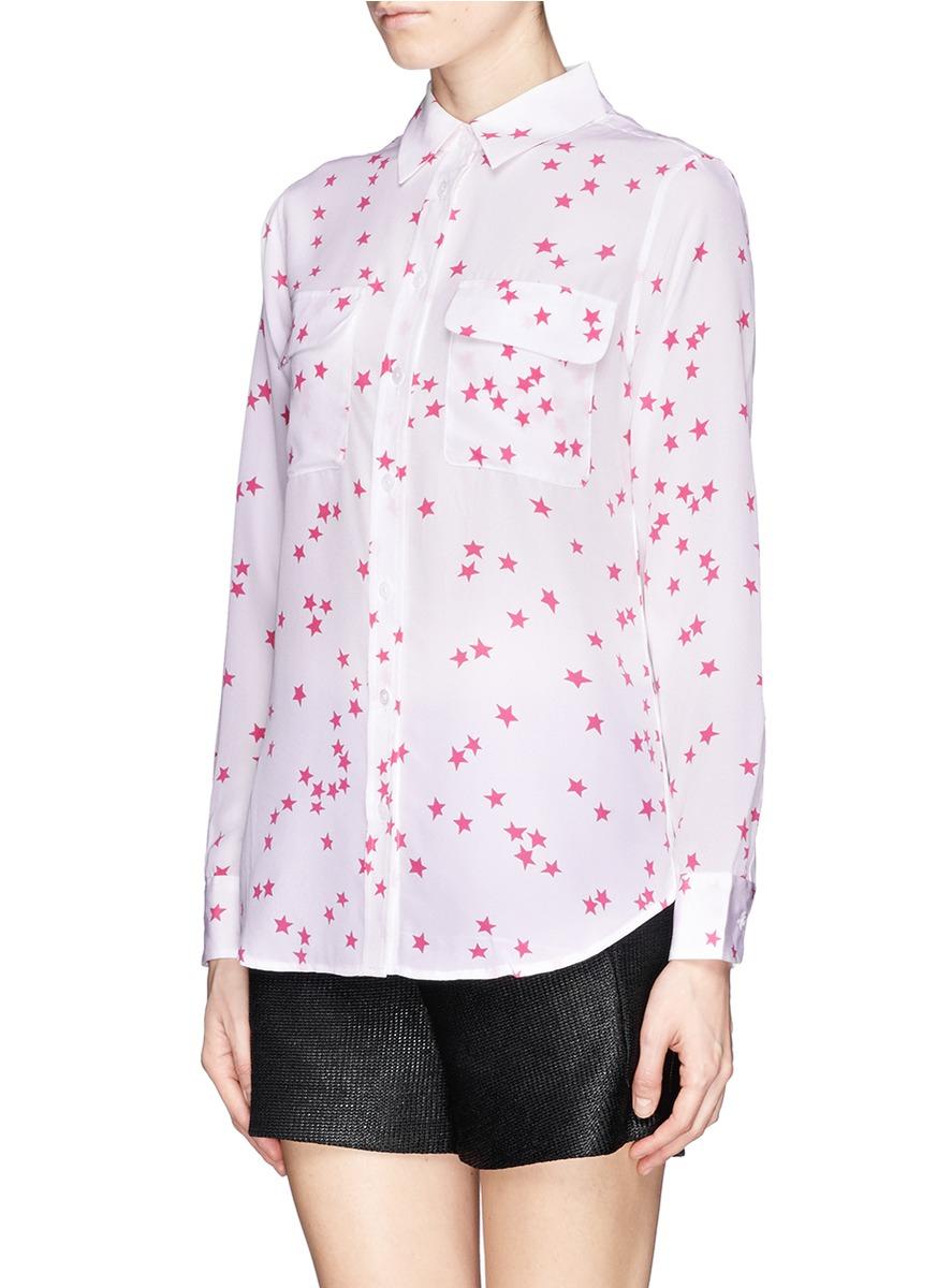 Equipment star print signature silk shirt in pink lyst for Equipment signature silk shirt
