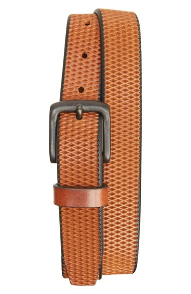 remo tulliani laser cut leather belt in brown for lyst