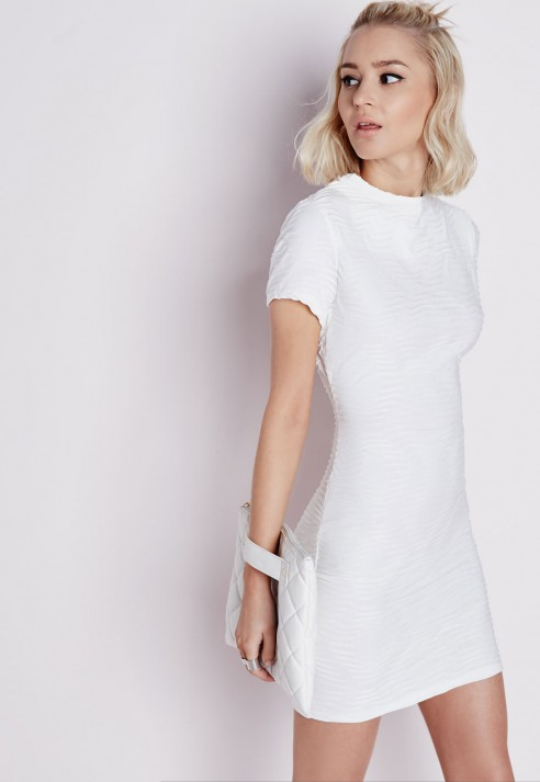 977b0b8b6768 Missguided Textured High Neck Short Sleeve Bodycon Dress White in ...