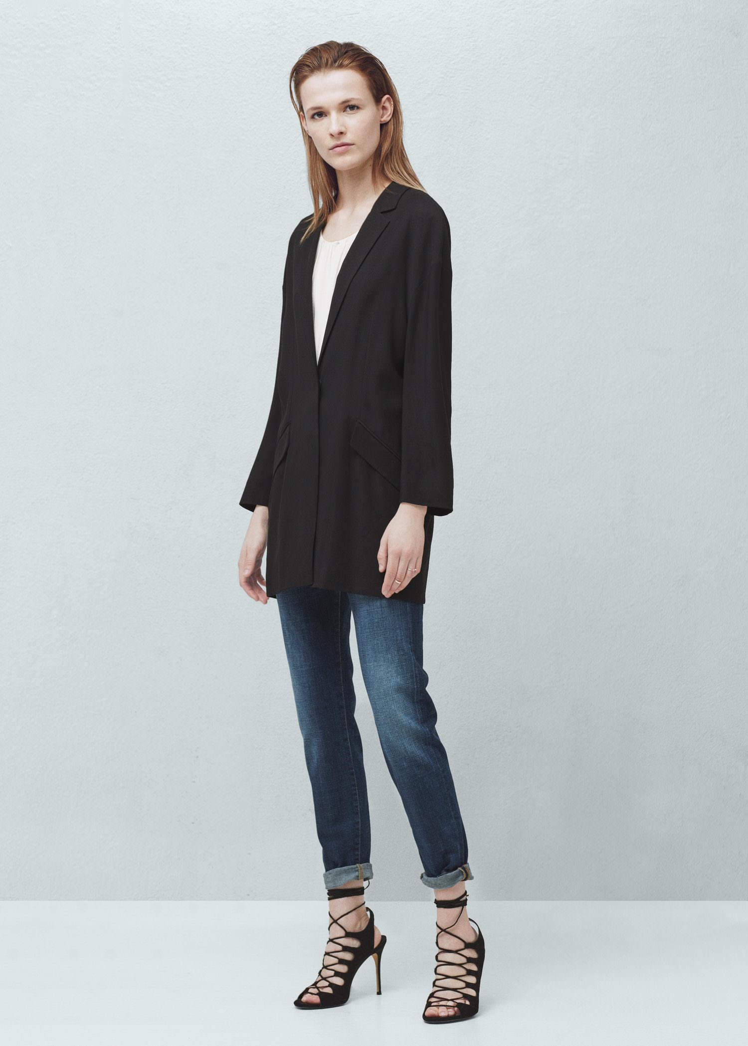 mango oversize blazer in black lyst. Black Bedroom Furniture Sets. Home Design Ideas