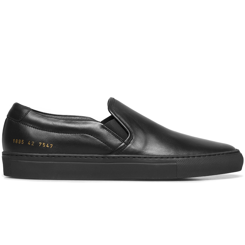 good texture new product look good shoes sale Black Leather Slip-on Sneakers