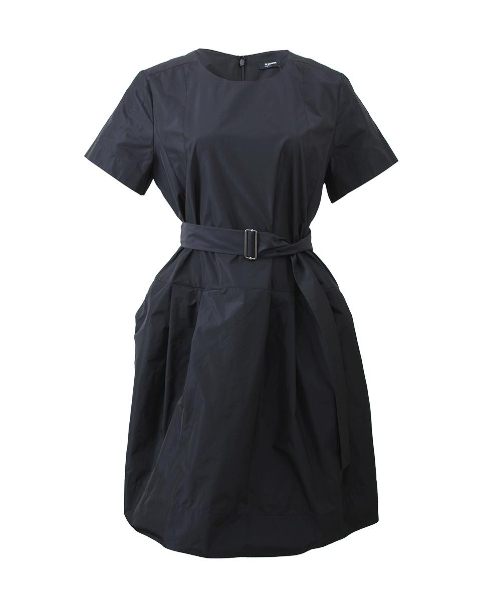 jil sander navy belted dress with pockets in black lyst