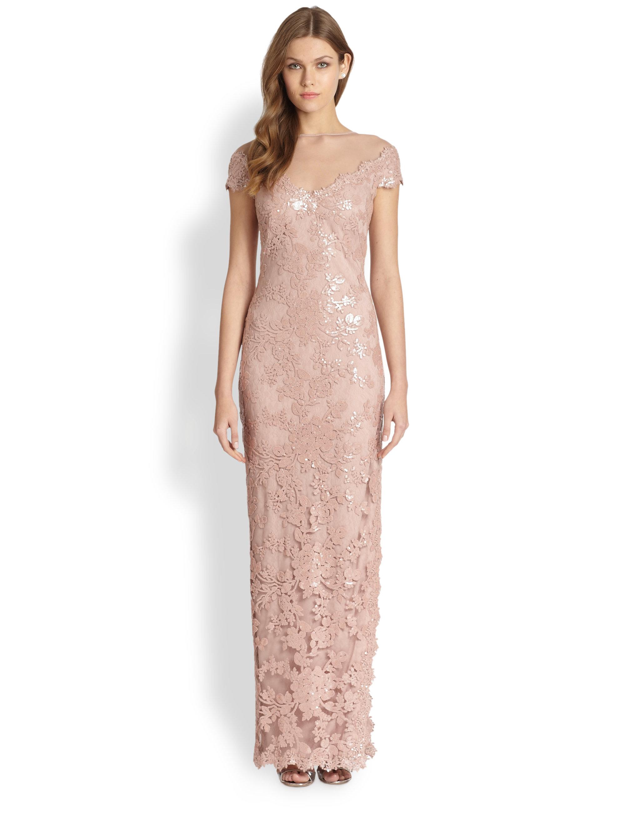 8ec6fe8d Tadashi Shoji Offtheshoulder Sequin Gown in Pink - Lyst