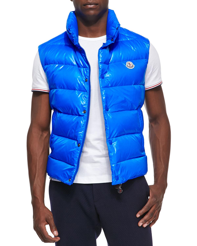 Lyst - Moncler Tib Puffer Vest in Blue for Men 760e541fc71