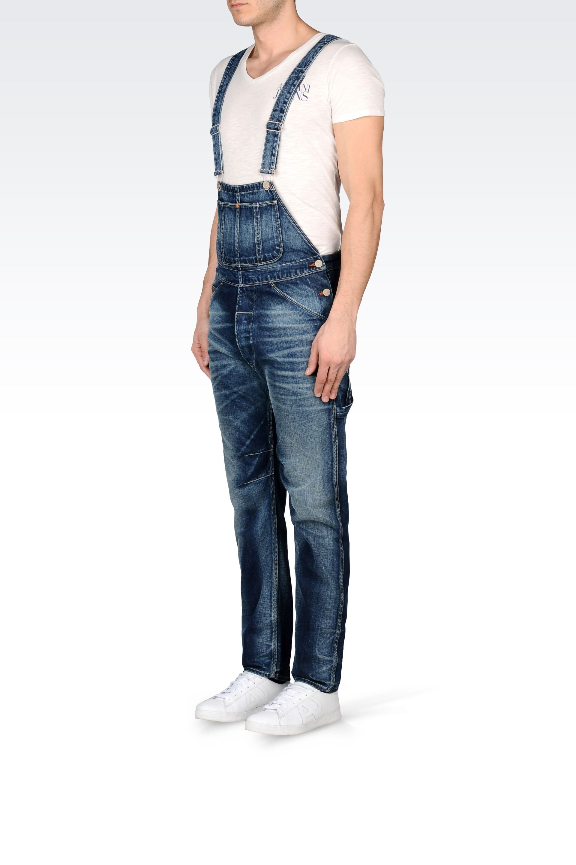 armani denim dungarees in blue for lyst