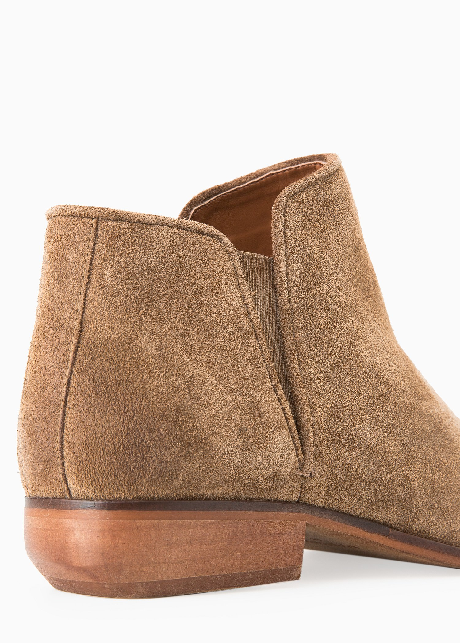 Mango Flat Suede Ankle Boots in Sand
