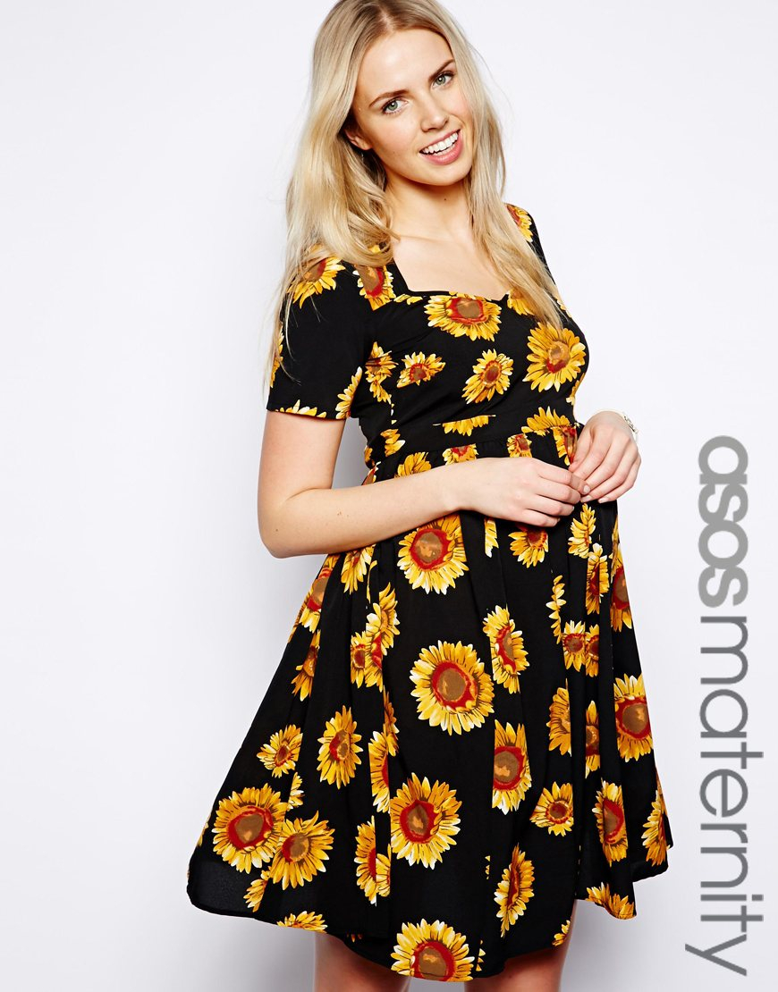 Asos Exclusive Skater Dress In Sunflower Print in Black