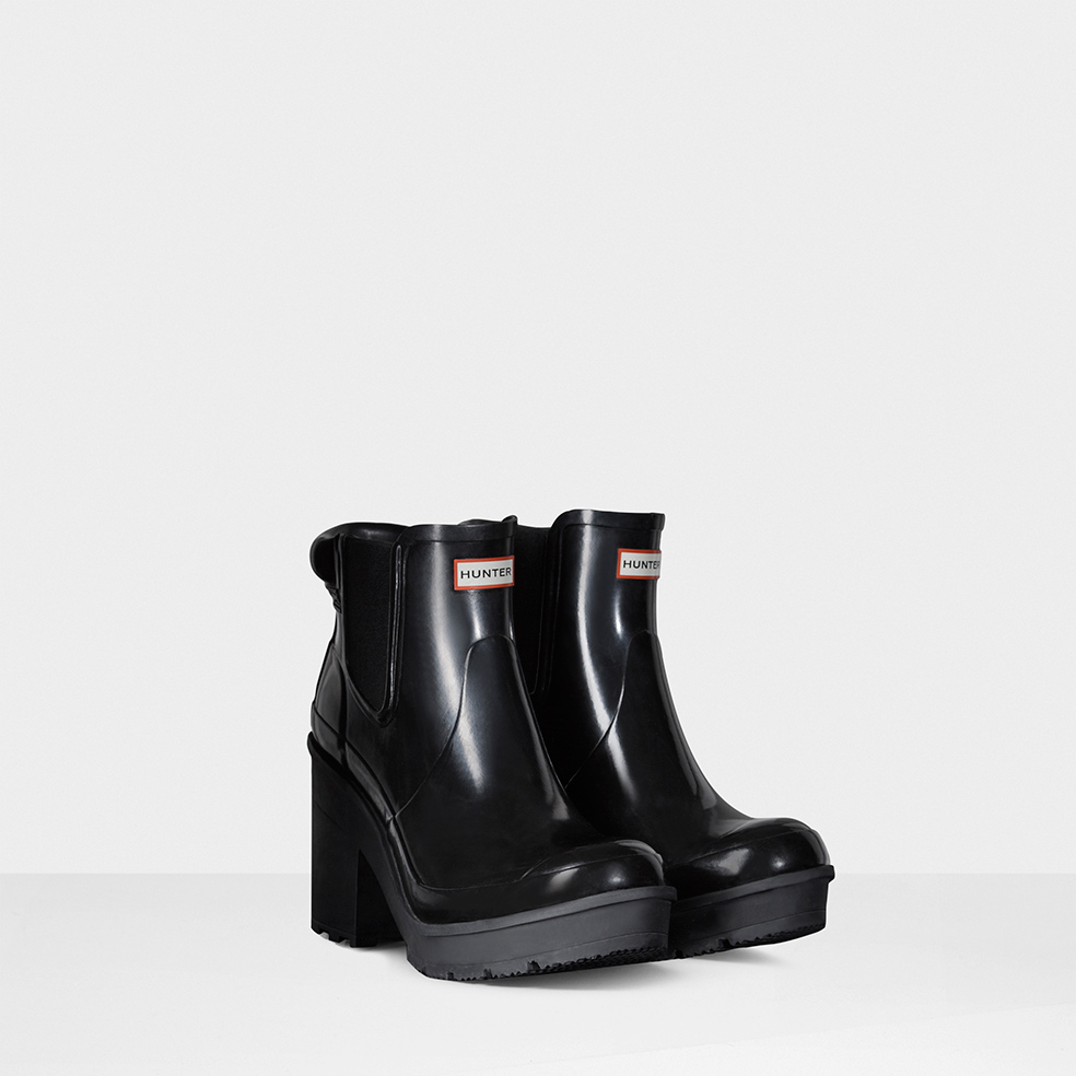 new images of new style best choice HUNTER Rubber Women'S Original Block Heel Gloss Chelsea Boots in ...