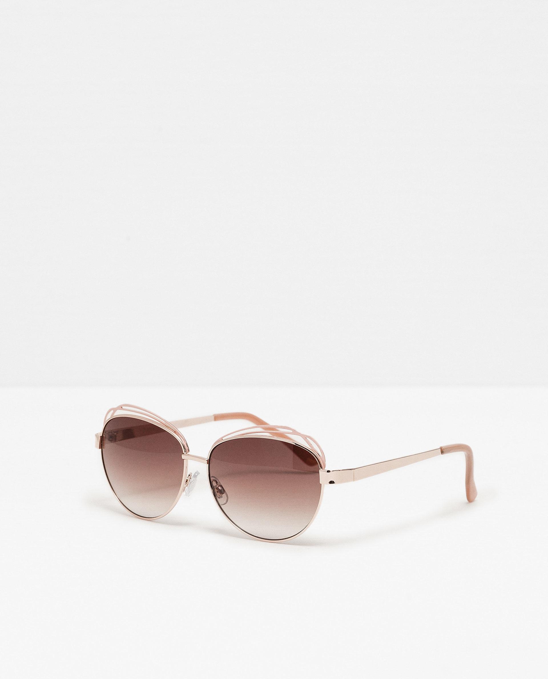 Zara Glasses Frames : Zara Metallic Sunglasses in Pink Lyst
