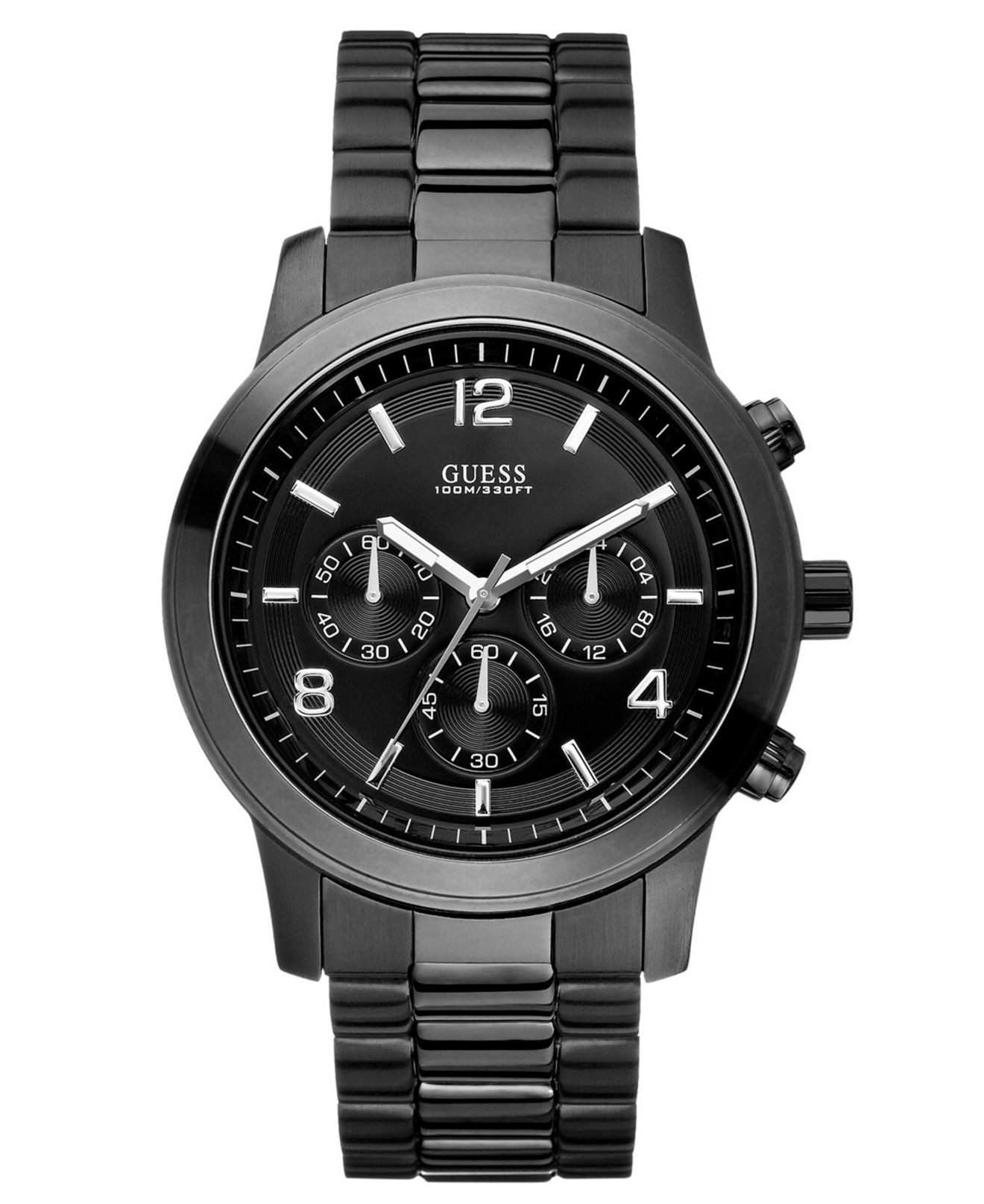 Guess men 39 s chronograph bold contemporary black ion plated stainless steel bracelet 38mm for Watches guess