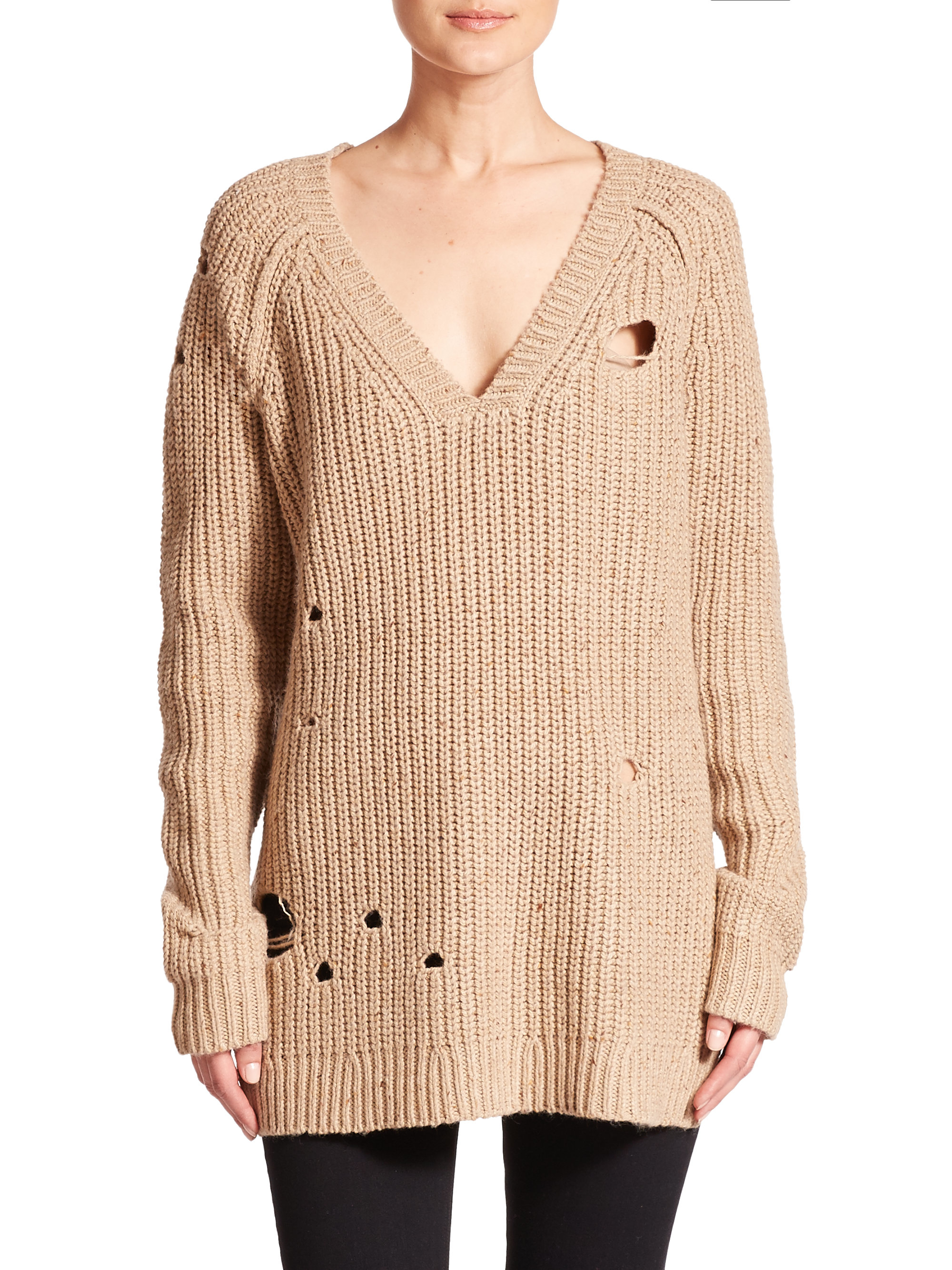 Wildfox Dusk Distressed Knit Tunic Sweater in Natural | Lyst