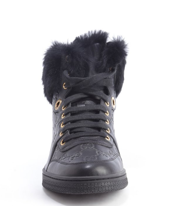 9af00f9e3c6 Lyst - Gucci Black Ssima Leather Coda Rabbit Fur Trimmed High Top Sneakers  in Black for