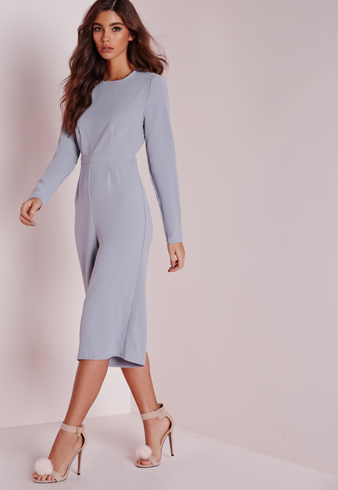 2b90b8b849ec Missguided Open Back Long Sleeve Culotte Jumpsuit Grey in Gray - Lyst